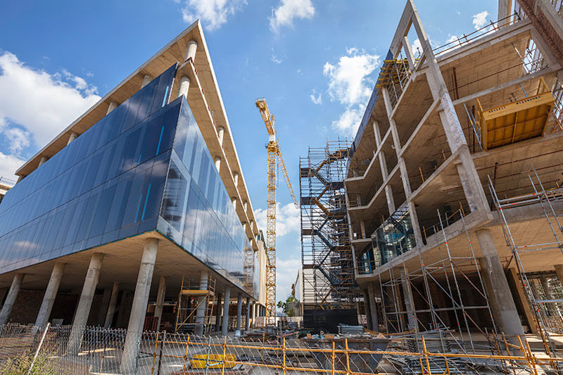 construction building site with crane