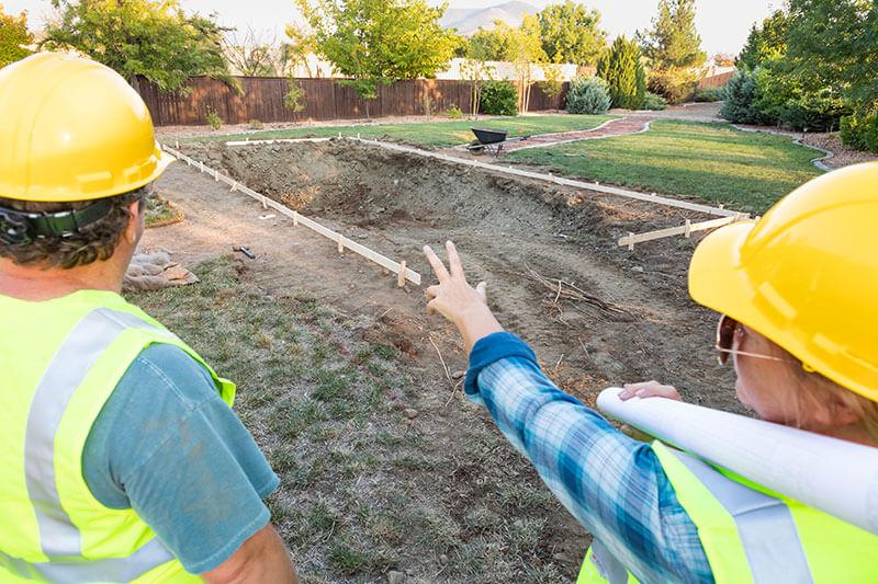 Landscape pool construction site